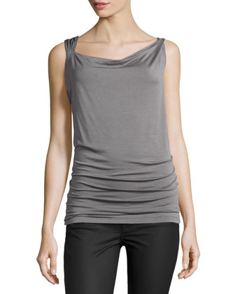 Draped Twisted-Strap Jersey Top