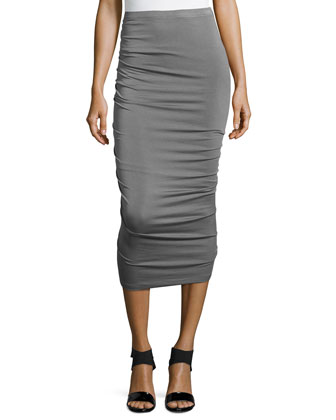 Crushed Body-Conscious Knee Skirt, Greystone