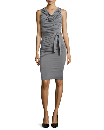 Sleeveless Self-Belted Ruched Jersey Dress, Greystone