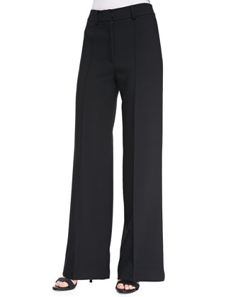 Double-Weave Cady Wide-Leg Trousers