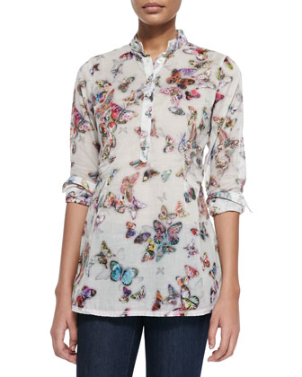 Long-Sleeve Butterfly-Print Blouse