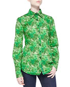 Long-Sleeve Rose-Print Blouse, Green