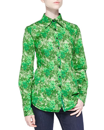 Long-Sleeve Rose-Print Blouse, Green