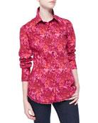 Long-Sleeve Rose-Print Blouse, Red