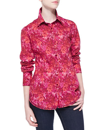 Long-Sleeve Rose-Print Blouse, Red