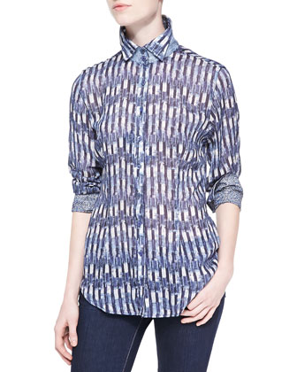 Geometric-Print Blouse with Contrast