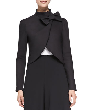 Bow-Neck Jacket with Round Hem, Black