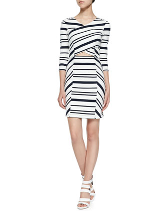 3/4-Sleeve Striped Dress W/ Cross Front