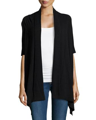 Ribbed Collar Half-Sleeve Cozy, Black