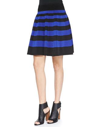 Striped Flare Skirt, Black/Cobalt