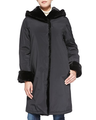 Princess Pile Coat W/ Faux-Fur Trim, Black/Black
