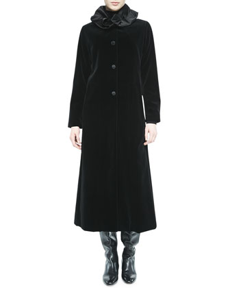 Long Velvet Coat W/ Ruched Collar