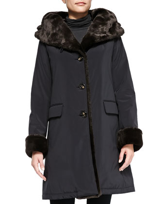 Storm Hooded Coat with Pile and Faux-Fur