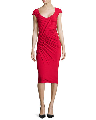 Cap-Sleeve Ruched Jersey Dress, Scarlet
