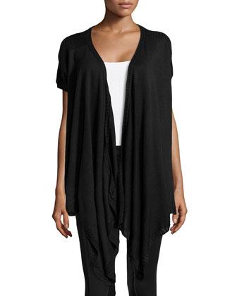 Draped-Front Silk-Cashmere Cozy, Black