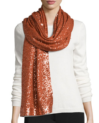 Sequined Cashmere Scarf, Terracotta