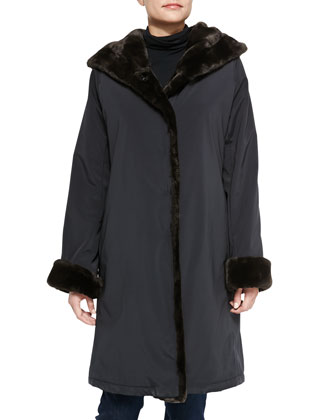 Princess Pile Coat W/ Faux-Fur Trim, Black/Brown