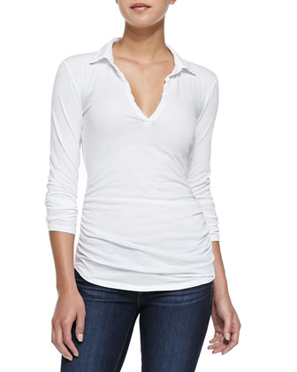 Long-Sleeve Top W/ Ruched Detail