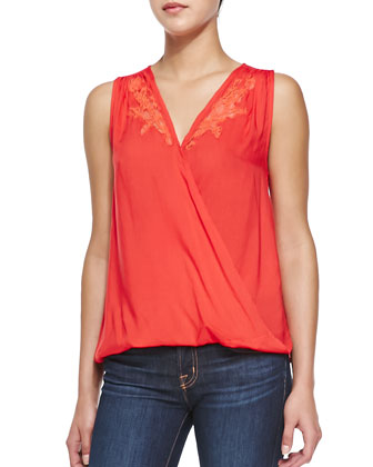 Sleeveless Crossover Top W/ Lace Insets