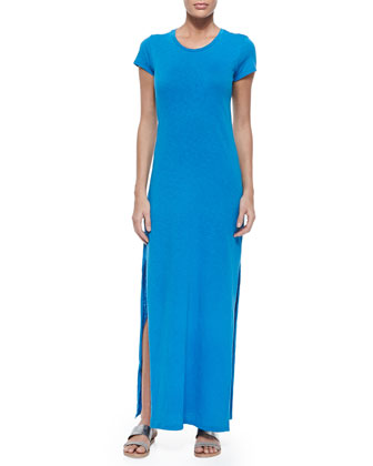 Short-Sleeve Maxi Dress W/ Vented Sides