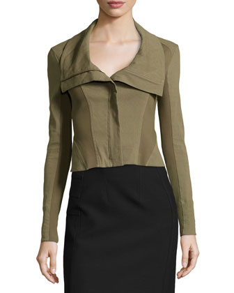 Zip-Front Cropped Jacket W/ Jersey Insets