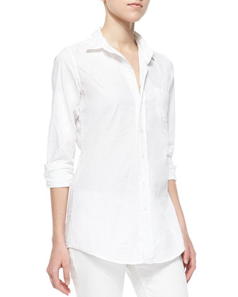 Eileen Long-Sleeve Poplin Blouse, White