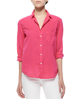 Eileen Long-Sleeve Poplin Blouse, Red