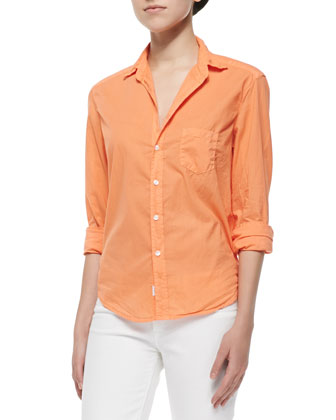 Eileen Long-Sleeve Poplin Blouse, Orange