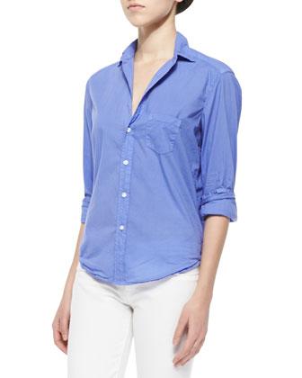 Eileen Long-Sleeve Poplin Blouse, Purple