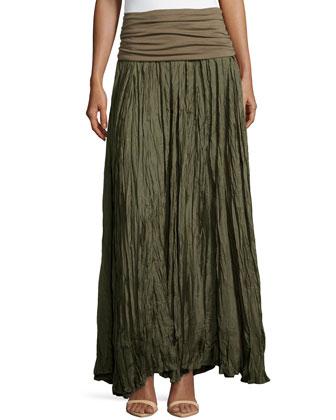 Crushed Silk Maxi Skirt with Foldover Waist, Juniper