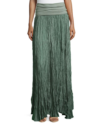 Crushed Silk Maxi Skirt with Fold-over Waist, Vetiver