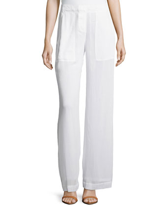 Full-Leg Easy Pants, White