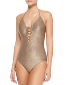 Lace-Up-Front Glittered One-Piece