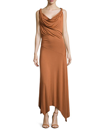 Long Twist Drape Dress, Patchouli