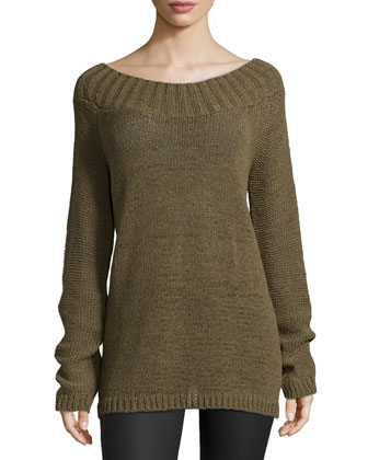 Wide-Neck Slouchy Sweater, Juniper