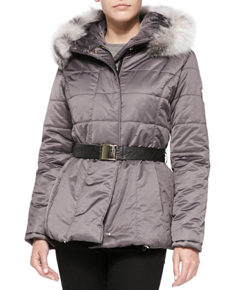 Apres-Ski Belted Puffer Jacket W/ Iceberg Fur-Trim