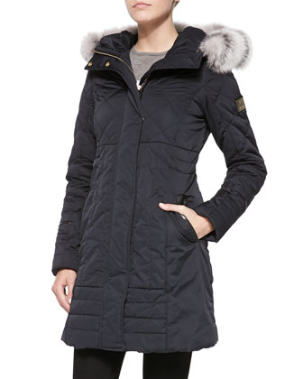 Fur Cropped Apres-Ski Jacket, Navy