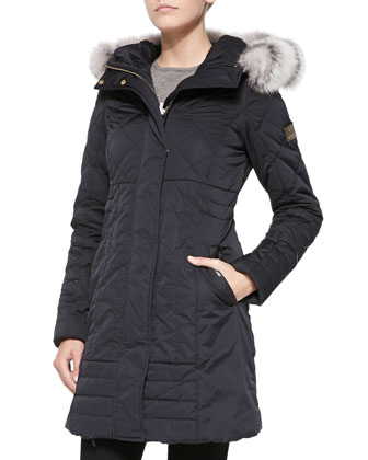 Apres-Ski Puffer Jacket W/ Iceberg Fur-Trim, Nero