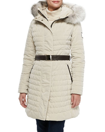 Apres-Ski Puffer Jacket W/ Iceberg Fur-Trim, Crema