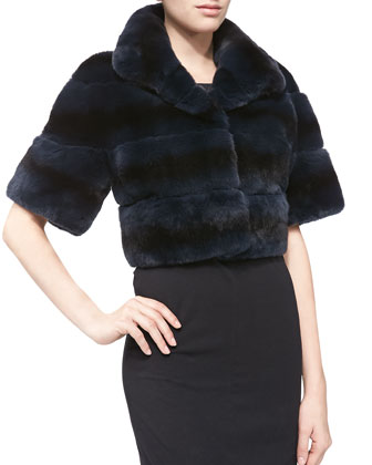 Cropped Layered Rabbit-Fur Jacket, Navy