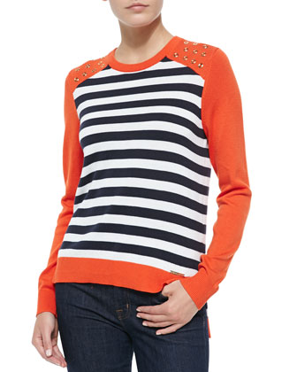 Long-Sleeve Striped Colorblock Sweater
