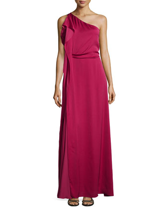 One-Shoulder Tier-Draped Gown, Sangria
