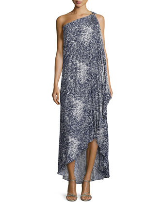 Printed One-Shoulder Draped Gown, Navy/Chalk
