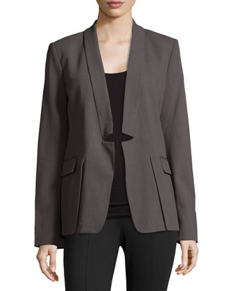 Notched-Lapel Wool-Blend Blazer, Lead