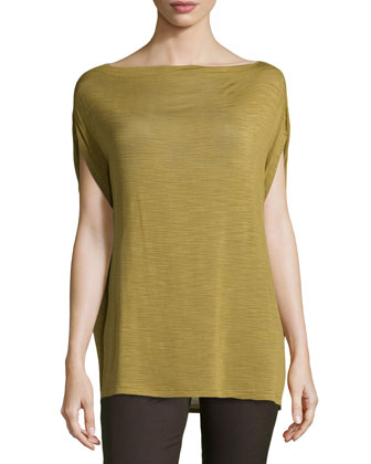 Boxy Slub Knit Tee, Green