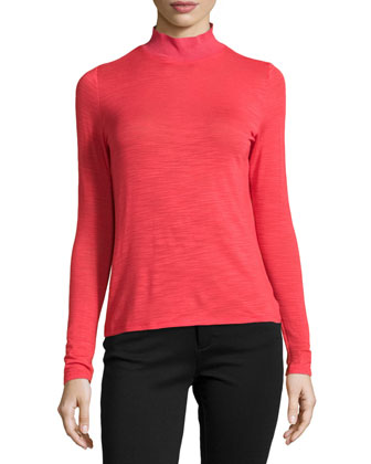 Long-Sleeve Slub Turtleneck Top, Vermillion