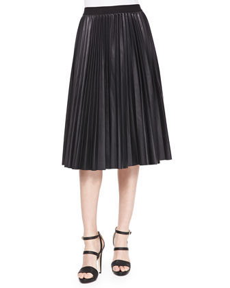 Cibella Classic Striped Knit Top & Zeyn Pleated Leather Skirt