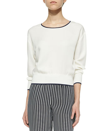 Delpy Contrast-Trim Silk Top & Pajeema Striped Pull-On Pants