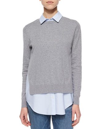 Deverlyn Knit/Poplin Combo Top