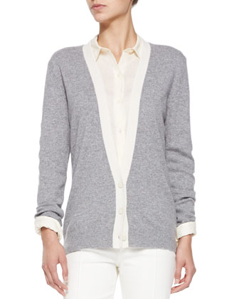Cashmere Yeryina Contrast-Trim Cardigan, Perfect Lightweight Long-Sleeve ...